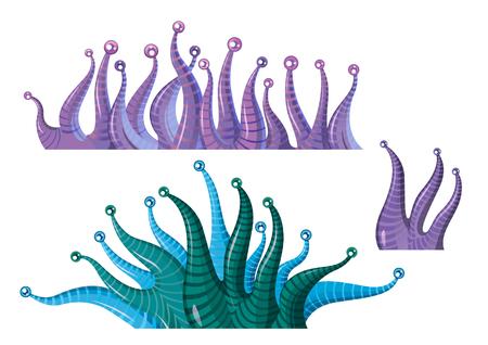 fantastic cartoon underwater plants algae - vector isolated illustration