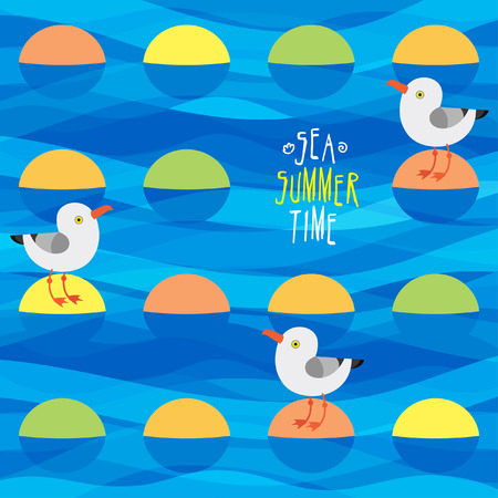 gulls: vector illustration with sea gulls and islets Illustration