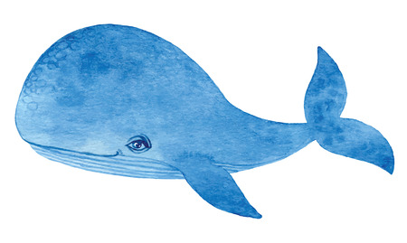 big cartoon: blue whale - watercolor cartoon hand drawing vector paint