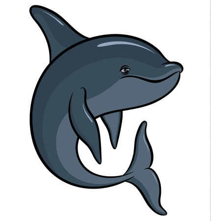 killer waves: Vector drawing - hand drawing colorful dolphin Illustration
