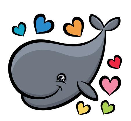 baleen: Cartoon hand drawn vector illustration of whale Illustration