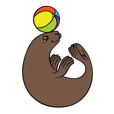 vector hand drawing seal with colorful ball - harbor seal or sea calf