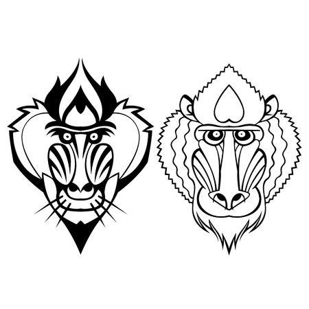 mandrill: Mandrill head vector stylized tattoo can be used as a mascot Illustration