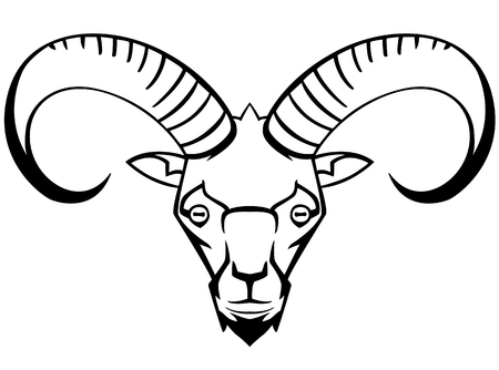 stylization: mountain goat - the symbol graphic stylization suitable for tattoos