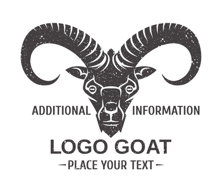 mountain goat - the symbol graphic stylization -   template or mascots vector black and white Illustration