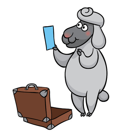 sheep with  ticket collects suitcase  to travel Illustration