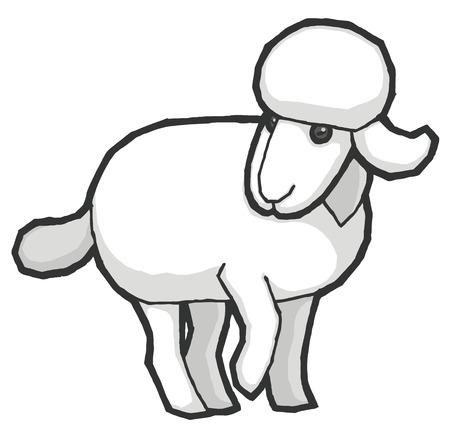 pastures: Cartoon cute sheep - vector illustration Illustration
