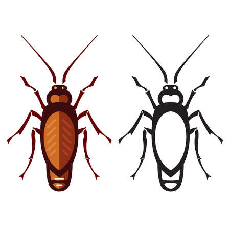 disgusting animal: cockroach in pure style - set of household pests in pure style - good for icons, packaging and design Illustration