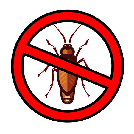 a disease carrier: cockroach in pure style emblem - set of household pests in pure style - good for icons, packaging and design
