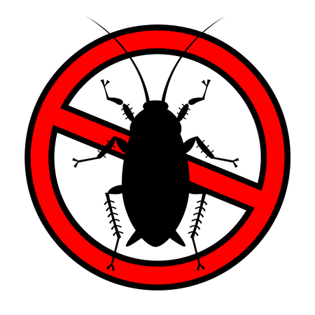 disease control: cockroach in pure style emblem - set of household pests in pure style - good for icons, packaging and design