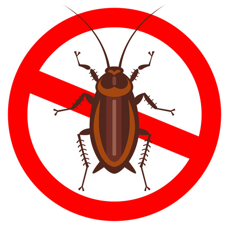cockroach in pure style emblem - set of household pests in pure style - good for icons, packaging and design
