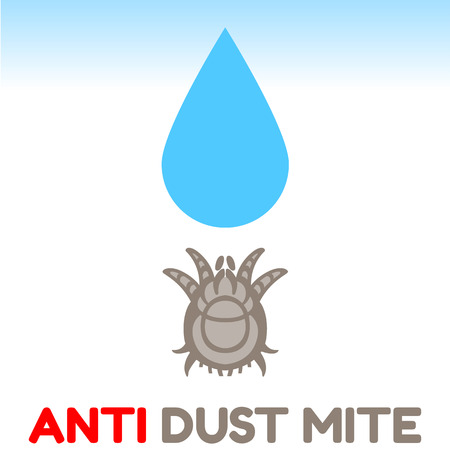 infestation: dust mite vector illustration - set of household pests in pure style