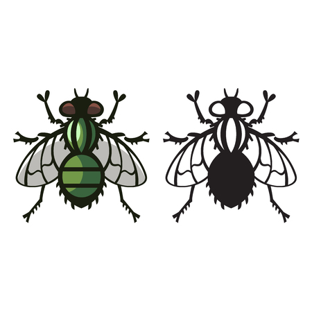 housefly: fly housefly nasty parasite vector illustration - set of household pests in pure style