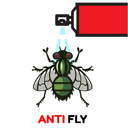 nasty: fly housefly nasty parasite vector illustration - set of household pests in pure style