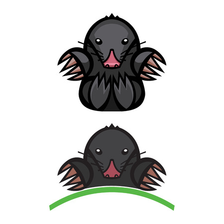 burrow: mole pest animal vector illustration - set of household pests in pure style