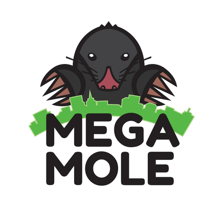 mole pest animal vector illustration - set of household pests in pure style