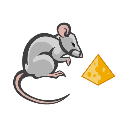 house mouse: house mouse vector drawing home parasite - set of household pests in pure style