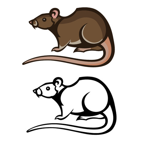 rat pest vector drawing home parasite - set of household pests in pure style 向量圖像