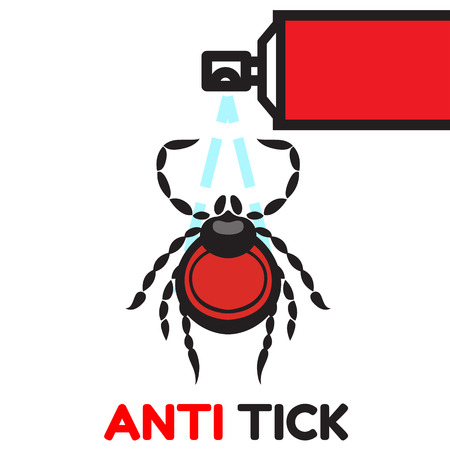 lyme disease: mite dangerous parasite vector illustration - set of household pests in pure style