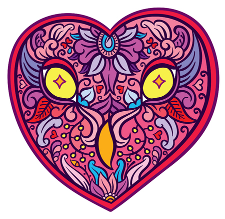 richly: richly decorated floral ornament owl heart shaped head - vector hand drawing illustration