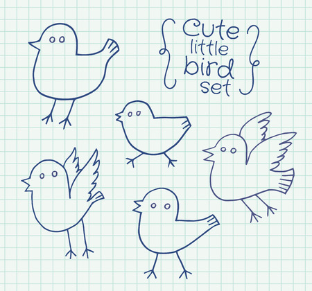 exercise book: Freehand drawing cute little birds on sheet of exercise book. Vector illustration set.