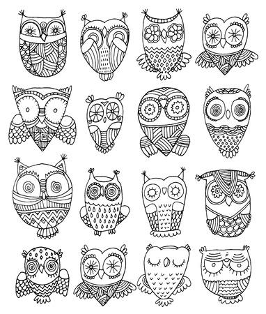 sowa: bogato zdobione sowy wektorowych ilustracji strony rysunku zestaw Ilustracja