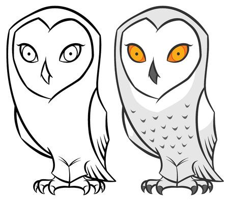 snowy polar arctic owl in modern cartoon style