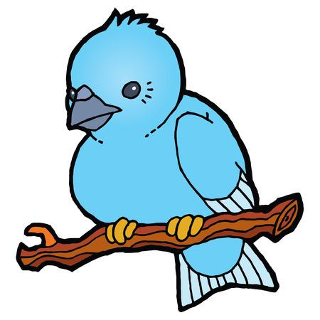 sparrow: Cartoon blue sparrow - beautiful little vector bird Illustration