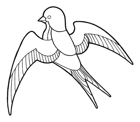 contour hand drawing swallow - black and white vector for coloring book