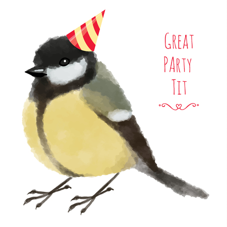 tit: Watercolor illustration tit or titmouse in birthday hat - Hand drawn vector illustration