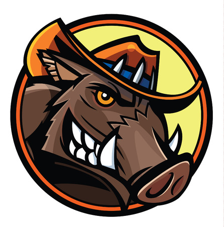 team sport: wild boar head in cowboy hat