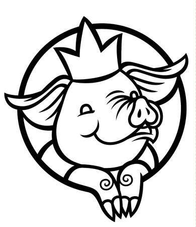 cute funny cartoon pig with a royal crown