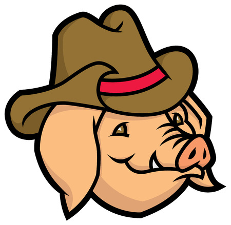 southwest: cartoon vector pig with cowboy hat Illustration