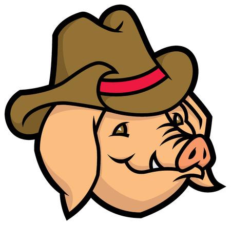 cerdo caricatura: vector de dibujos animados de cerdo con sombrero de vaquero