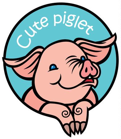 cerdo caricatura: cerdo sonriente poco feliz de dibujos animados bebé en marco redondo