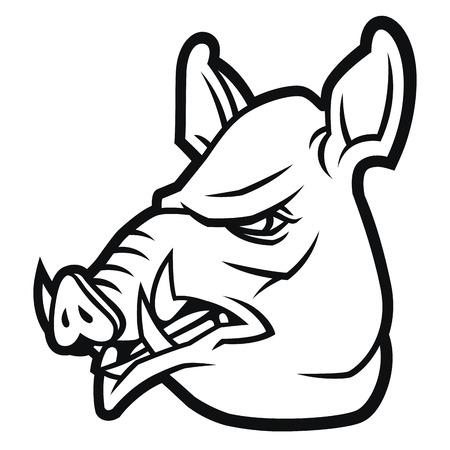 la cabeza de jabalí en el estilo de dibujos animados para el tatuaje, mascota del equipo de deporte, diseño de la fauna o la plantilla de logotipo