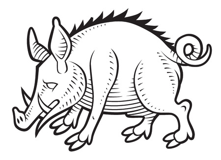 sniff: Wild boar in vintage medieval gravure style