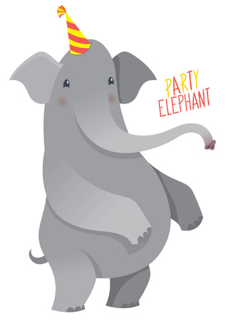 cartoon elephant: Cartoon elephant in party hat - vector illustration for birthday card or party design