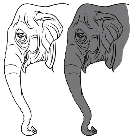 black mammoth: head of an elephant - vector illustration