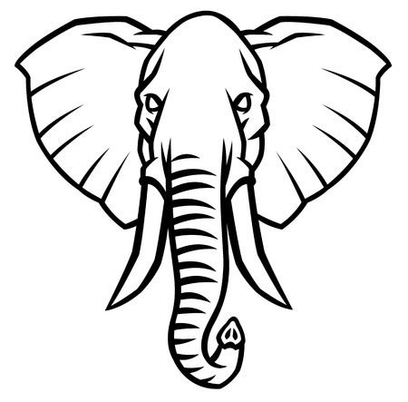 oversize: head of an elephant with large tusks - vector illustration
