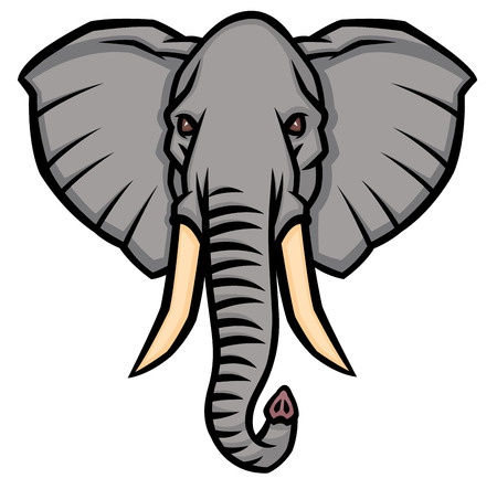 tusks: head of an elephant with large tusks - vector illustration