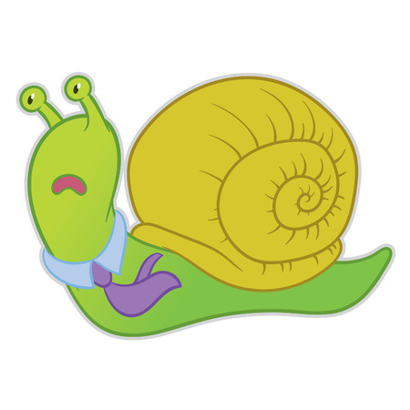 snail: cartoon snail businessman manager late and hurry to work