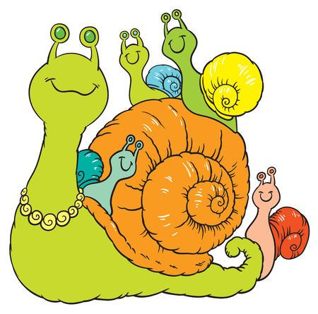 cartoon snail: Happy snail family - big mother and small snail child - vector cartoon illustration on white background