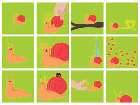 mollusc: Cute snail pet with emotions - collection of vector illustrations