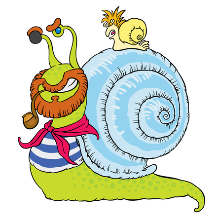 comical: cartoon comical snail-sailor in vests with snail-parrot - vector hand drawing illustration