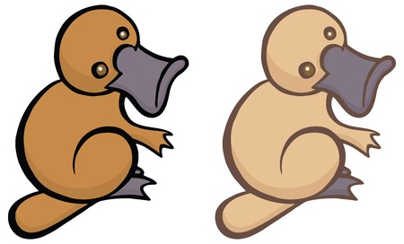 platypus: Funny cartoon platypus - You can design cards, part of platypus  , mascot, corporate character and so on. Lively animal character.