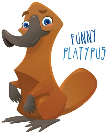 platypus: Funny happy cartoon platypus - You can design cards, part of  mascot, corporate character and so on. Lively animal character.