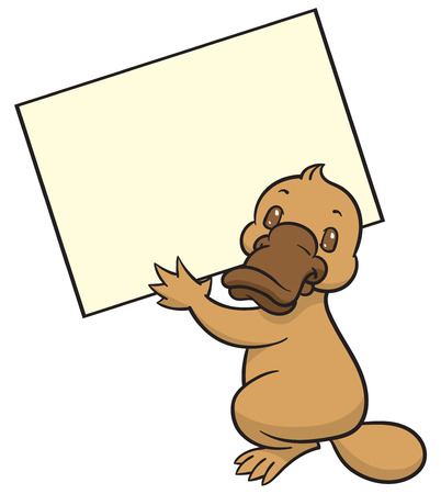 platypus: Funny happy cartoon platypus or duckbill - vector  , tablet and nameplate or sign template Illustration