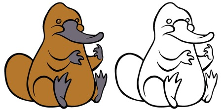 platypus: Funny kindly cartoon platypus - You can design cards, part of platypus  , mascot, corporate character and so on. Lively animal character.