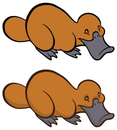 platypus: Funny smiling cartoon platypus - You can design cards, part of platypus  , mascot, corporate character and so on. Lively animal character.